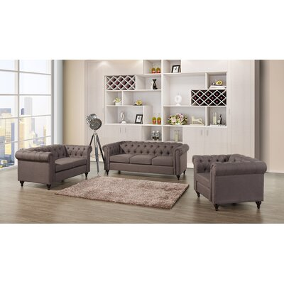 Chesterfield 3 Piece Living Room Set Upholstery: Dark Brown