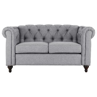 Kym Living Room Chesterfield Loveseat (Set of 2) Upholstery: Gray