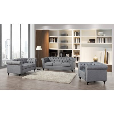 Chesterfield 3 Piece Living Room Set Upholstery: Gray