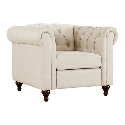 Jemima Chesterfield Chair Upholstery: Beige/Light Brown