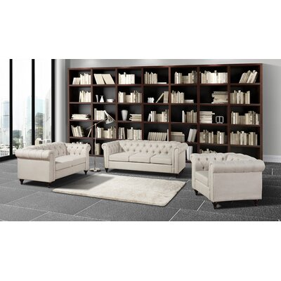Chesterfield 3 Piece Living Room Set Upholstery: Beige