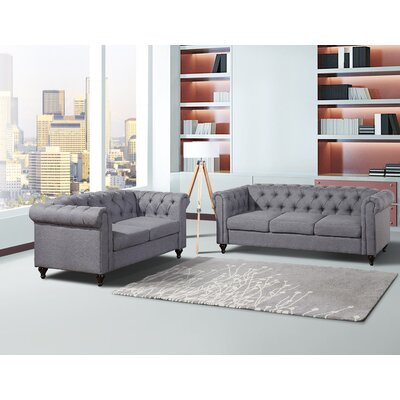 Chesterfield Sofa and Loveseat Set Upholstery: Dark Gray