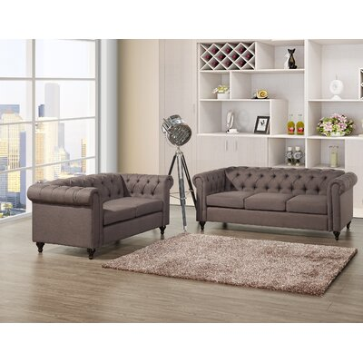 Chesterfield 2 Piece Living Room Set Upholstery: Dark Brown
