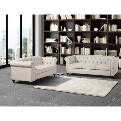 Chesterfield 2 Piece Living Room Set Upholstery: Beige