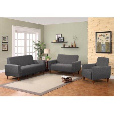Mid Century Linen Upholstery Sofa Set Upholstery: Dark Gray