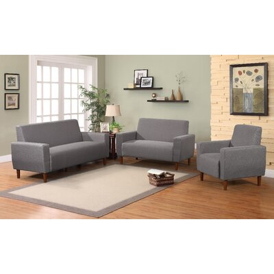 Mid 3 Piece Living Room Set Upholstery: Gray