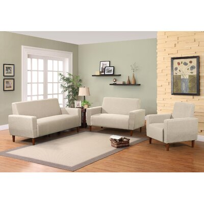 Mid 3 Piece Living Room Set Upholstery: Beige