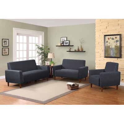 Mid 3 Piece Living Room Set Upholstery: Dark Blue