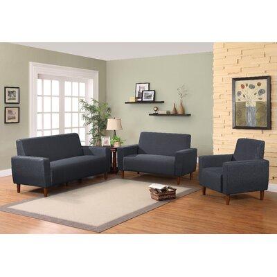 Mid Century Linen Upholstery Sofa Set Upholstery: Dark Blue