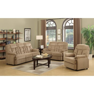 3 Piece Living Room Set  Upholstery: Mocha