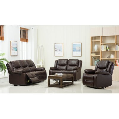 3 Piece Living Room Set  Upholstery: Brown