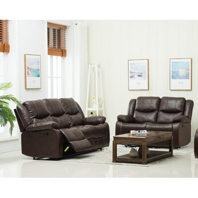 Reclining Sofa and Loveseat Set Upholstery: Brown