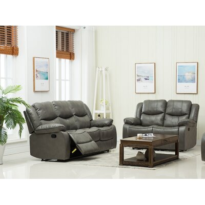 Reclining Sofa and Loveseat Set Upholstery: Gray