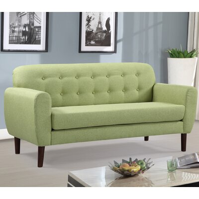 Mid-Century Tufted Loveseat Upholstery: Lemon Green