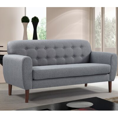 Mid-Century Tufted Loveseat Upholstery: Grey