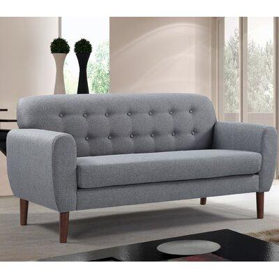 Mid-Century Tufted Loveseat Upholstery: Gray