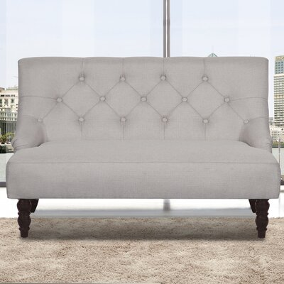 Tufted Linen Upholstered Loveseat Upholstery: Beige/Grey