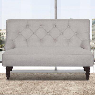 Tufted Linen Upholstered Loveseat Upholstery: Beige/Grey