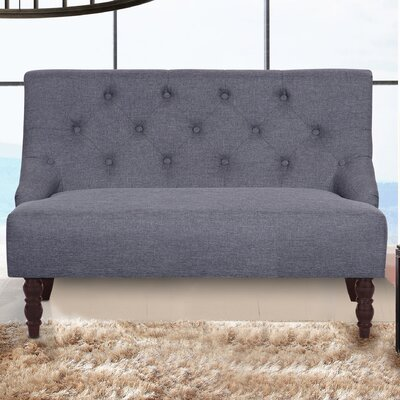 Tufted Linen Upholstered Loveseat Upholstery: Dark Gray