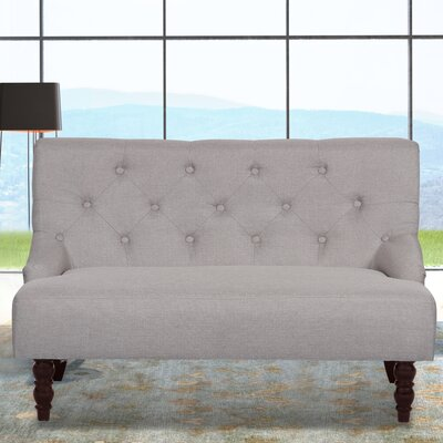 Tufted Linen Upholstered Loveseat Upholstery: Light Brown
