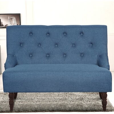 Tufted Linen Upholstered Loveseat Upholstery: Ocean Blue