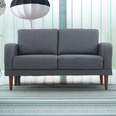 Linen Upholstered Loveseat Upholstery: Dark Grey