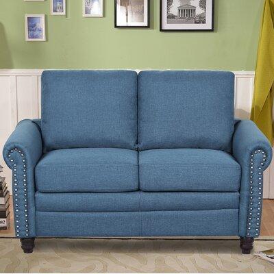 Linen Upholstered Loveseat Upholstery: Ocean Blue