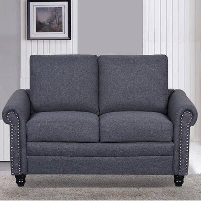 Linen Upholstered Loveseat Upholstery: Dark Gray