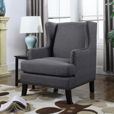Upholstery Wingback Chair Upholstery: Dark Gray