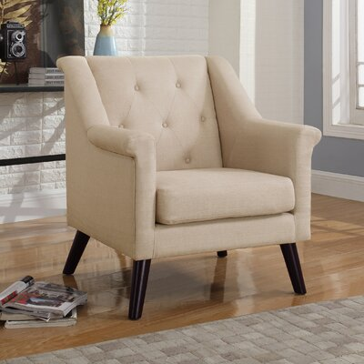 Tufted Arm Chair Upholstery: Beige