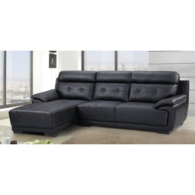 Tufted Sectional Upholstery: Black, Orientation: Left Hand Facing