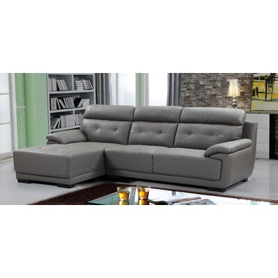 Tufted Sectional Upholstery: Gray, Orientation: Left Hand Facing