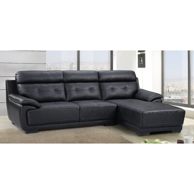 Sectional Upholstery: Black, Orientation: Right Hand Facing