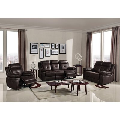 3 Piece Reclining Sofa Set Upholstery : Chocolate