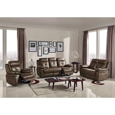 3 Piece Reclining Sofa Set Upholstery : Brown