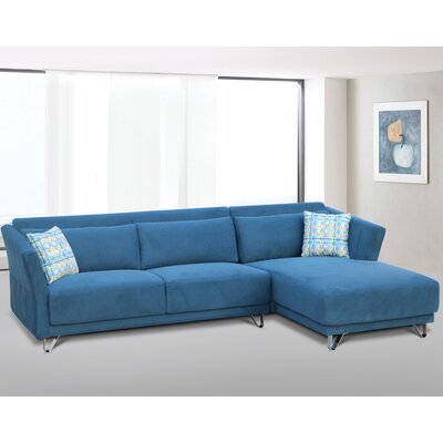 Flocking Sectional Upholstery : Blue, Orientation: Right Hand Facing