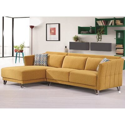Flocking Sectional Upholstery : Yellow, Orientation: Left Hand Facing