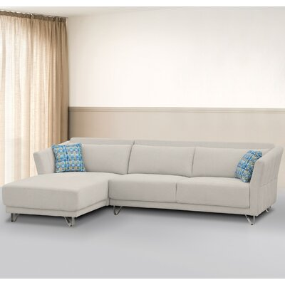 Flocking Sectional Upholstery : Cream, Orientation: Left Hand Facing