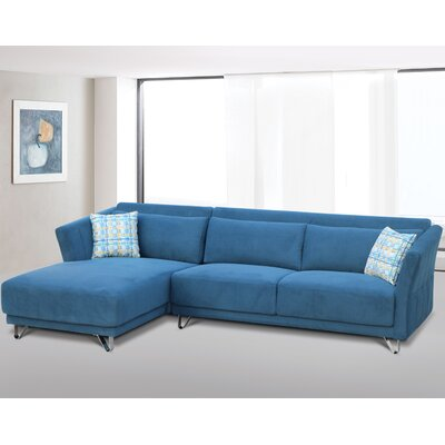 Flocking Sectional Upholstery : Blue, Orientation: Left Hand Facing