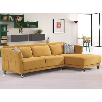 Flocking Sectional Upholstery : Yellow, Orientation: Right Hand Facing