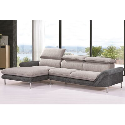 Flocking Sectional Upholstery : Light Gray/Dark Gray, Orientation: Left Hand Facing