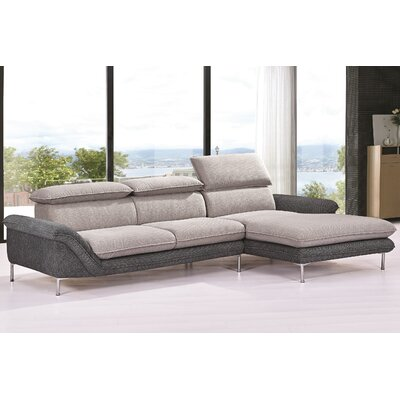 Flocking Sectional Upholstery : Light Gray/Dark Gray, Orientation: Right Hand Facing