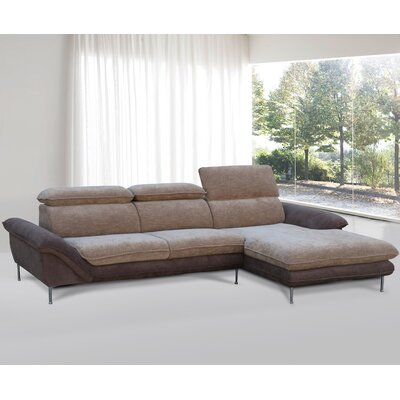 Flocking Sectional Upholstery : Light Brown/Dark Brown, Orientation: Right Hand Facing