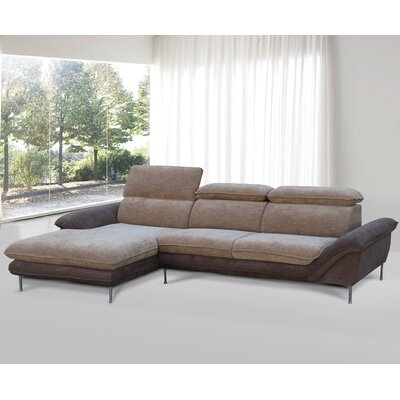 Flocking Sectional Upholstery : Light Brown/Dark Brown, Orientation: Left Hand Facing