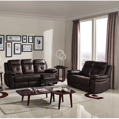 2 Piece Reclining Sofa Set Upholstery : Chocolate