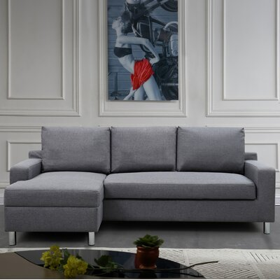 Sectional Upholstery: Dark Gray, Orientation: Left Hand Facing