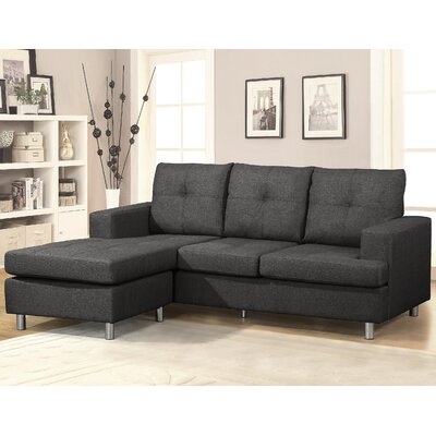 Reversible Chaise Sectional Upholstery: Dark Gray