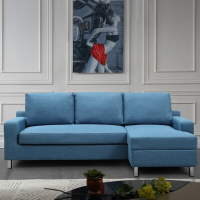 Sectional Upholstery: Blue, Orientation: Right Hand Facing