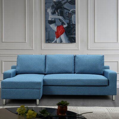 Sectional Upholstery: Blue, Orientation: Left Hand Facing