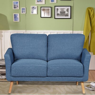 Modern Fabric Loveseat Upholstery : Blue